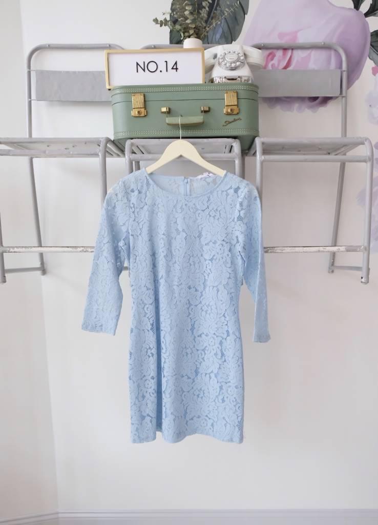Blue Lace Shift Dress