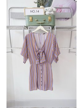 Front Tie Striped Dress
