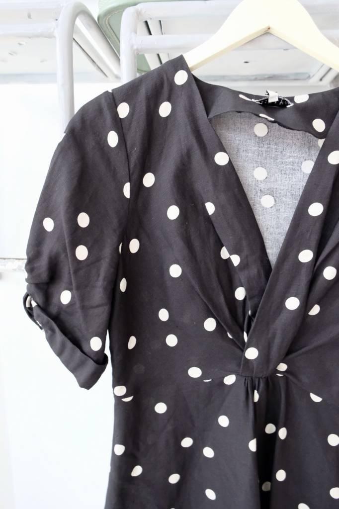 Front Twist Polka Dot Dress