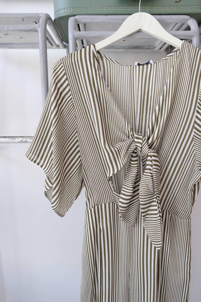 Tie Front Striped Jumpsuit