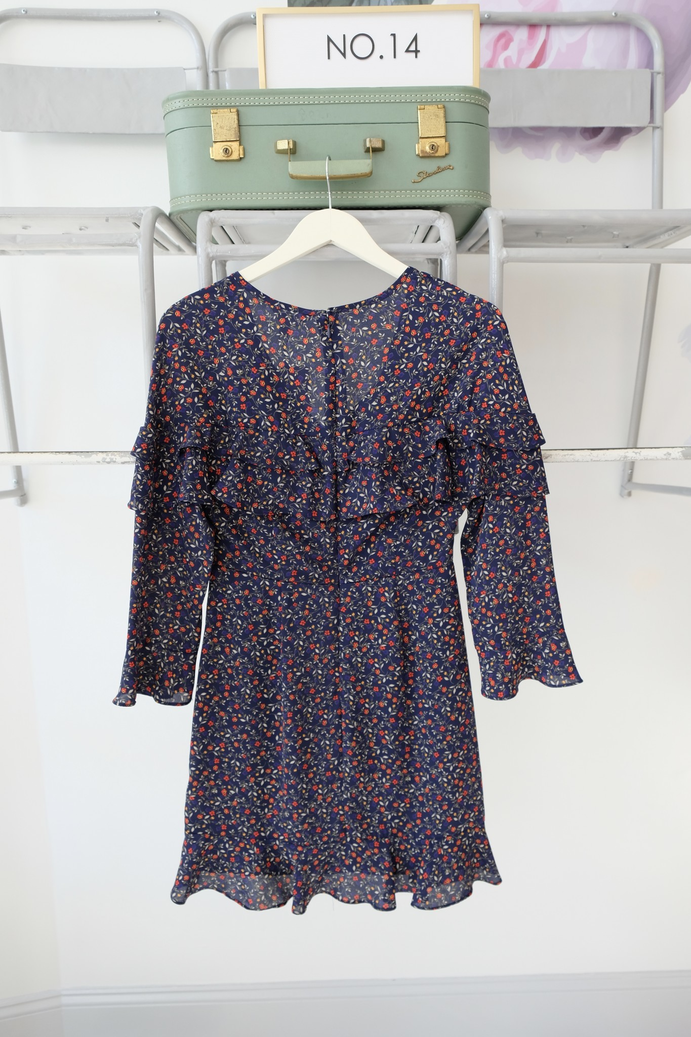 Navy Floral Long Sleeve Dress