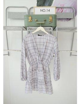 Striped Cross Front Long Sleeve Dress