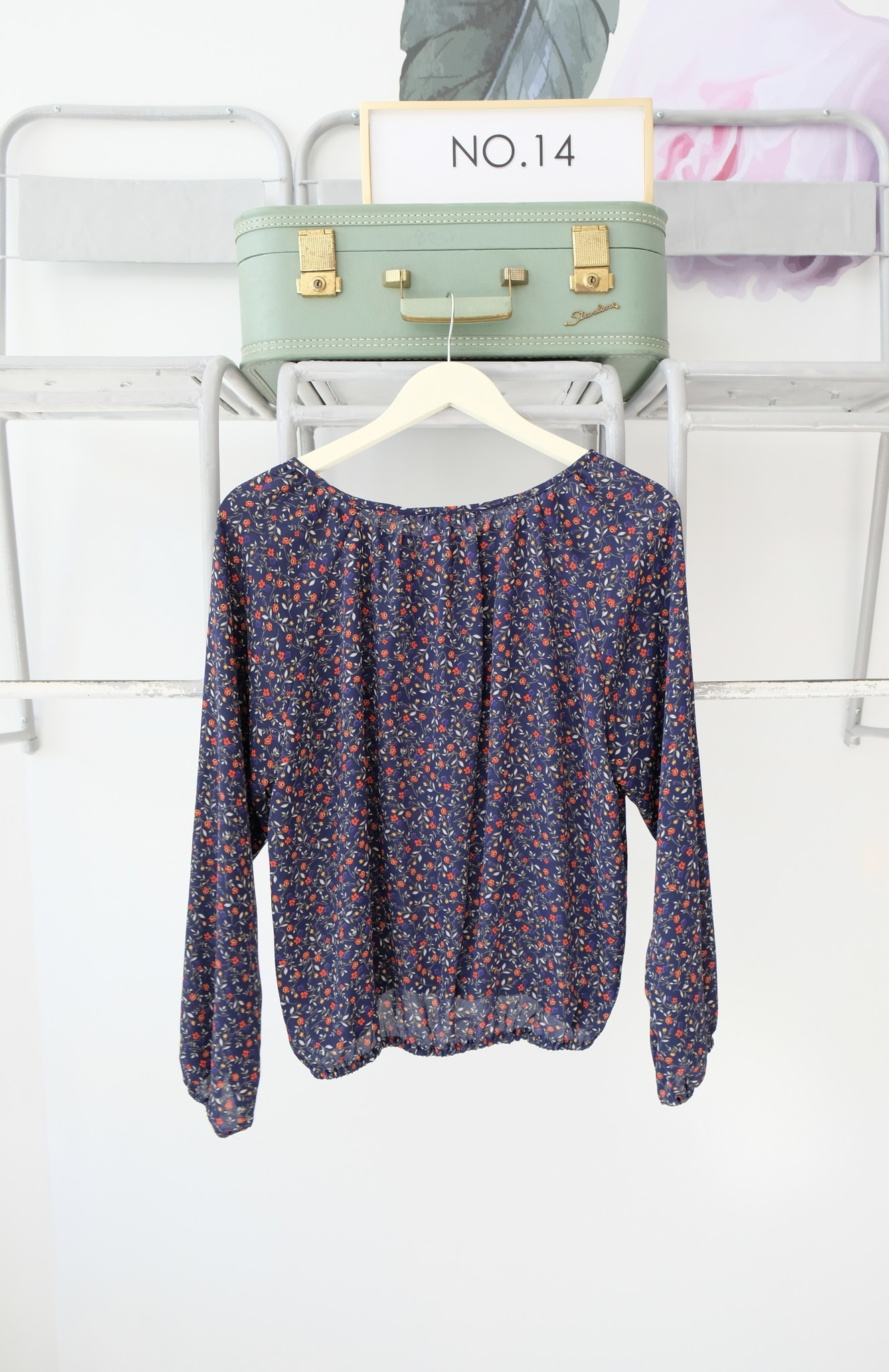 Navy Floral Long Sleeve Blouse