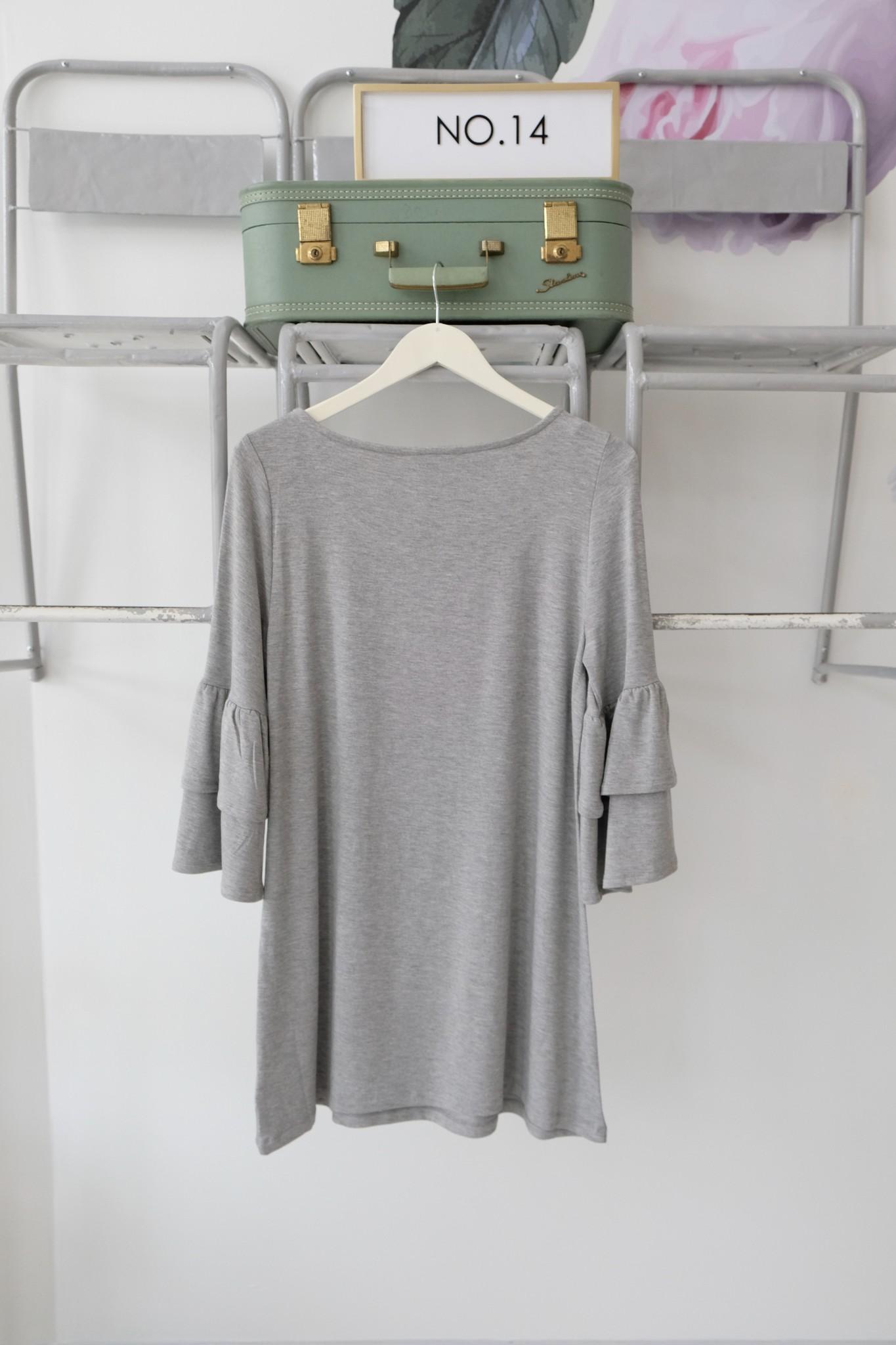 Grey Ruffle Sleeve Knit Dress