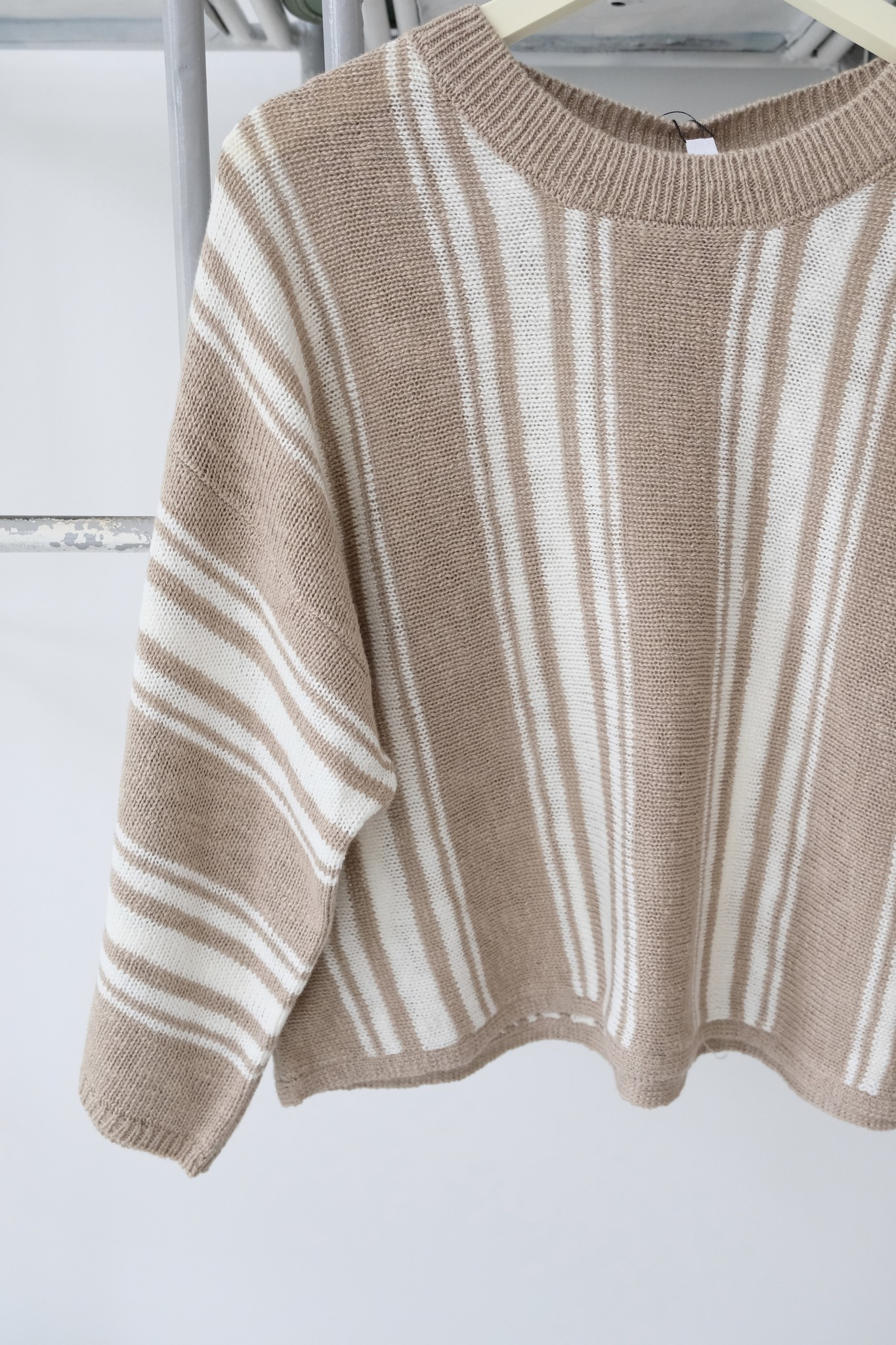 Tan & White Cropped Striped Sweater
