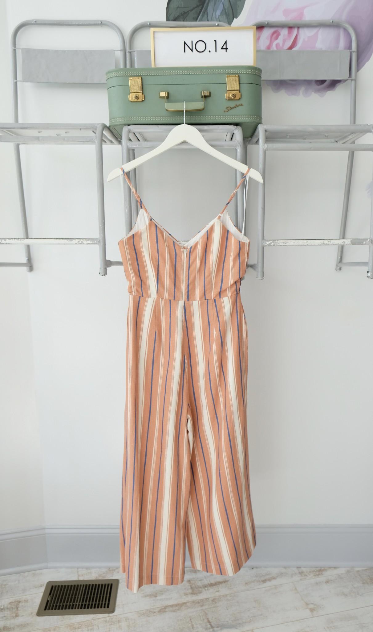 Orange & Blue Striped Jumpsuit