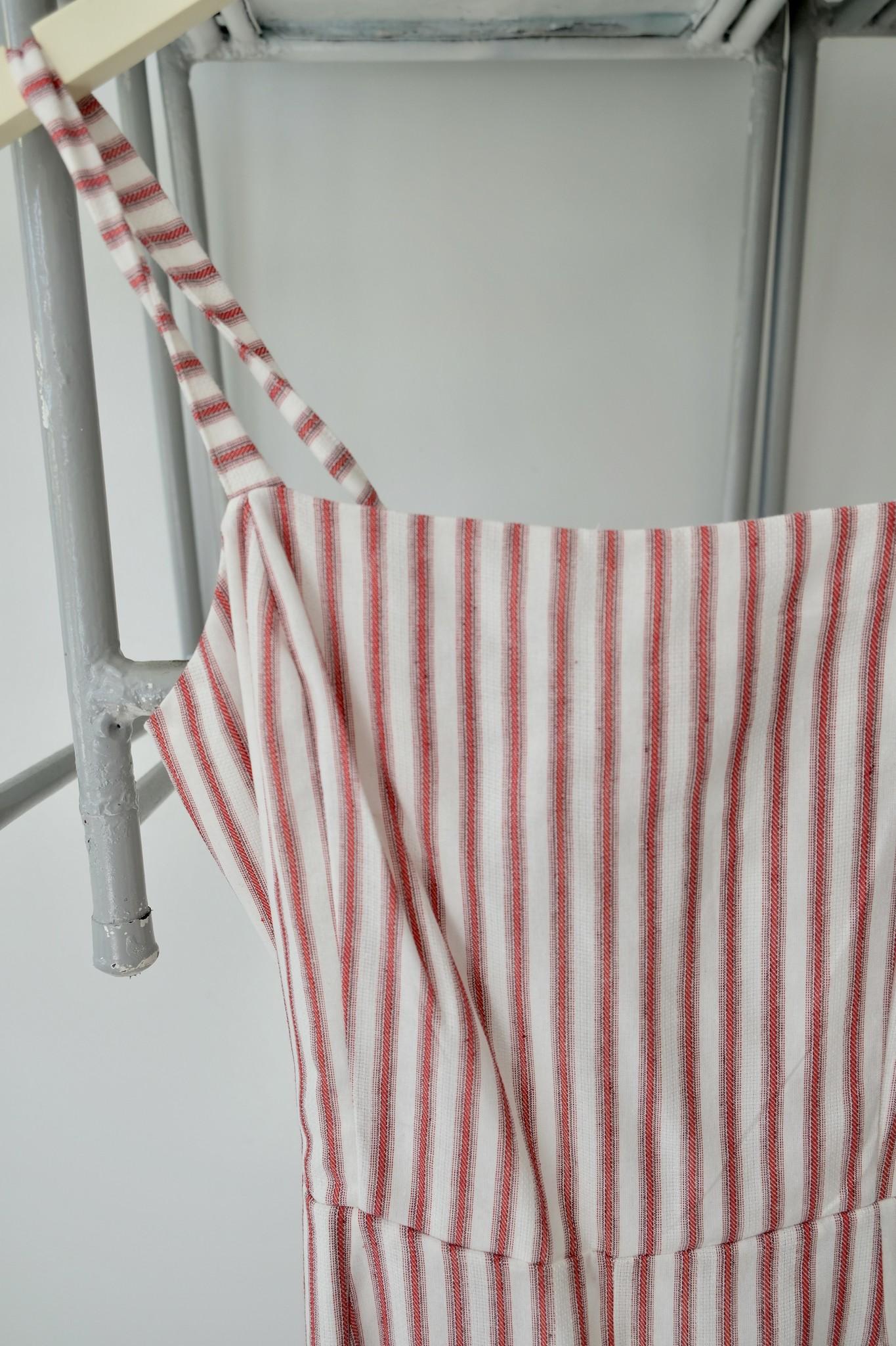 Tie Back Striped Jumpsuit