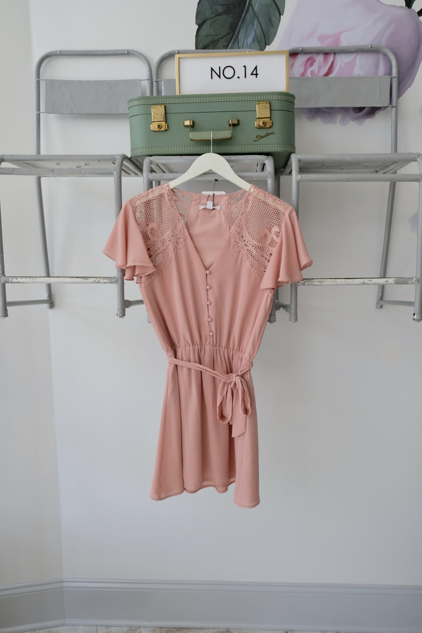 Lace Shoulder Pink Dress