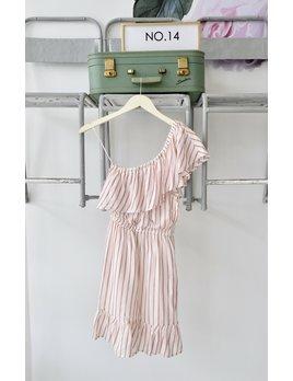 One Sleeve Striped Dress