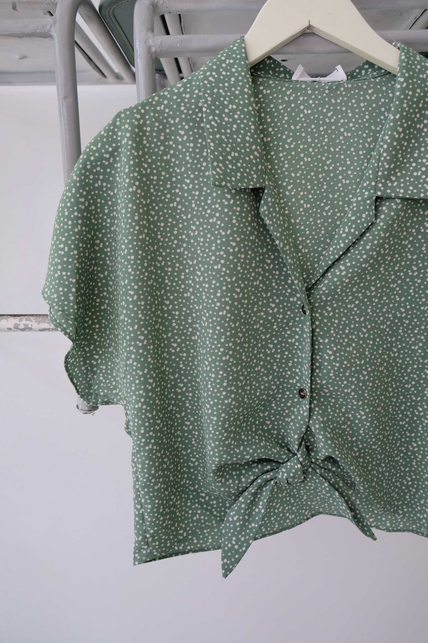 Sage the Label Polka Dot Tie Front Blouse