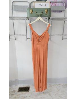 Orange Polka Dot Tie Front Jumpsuit