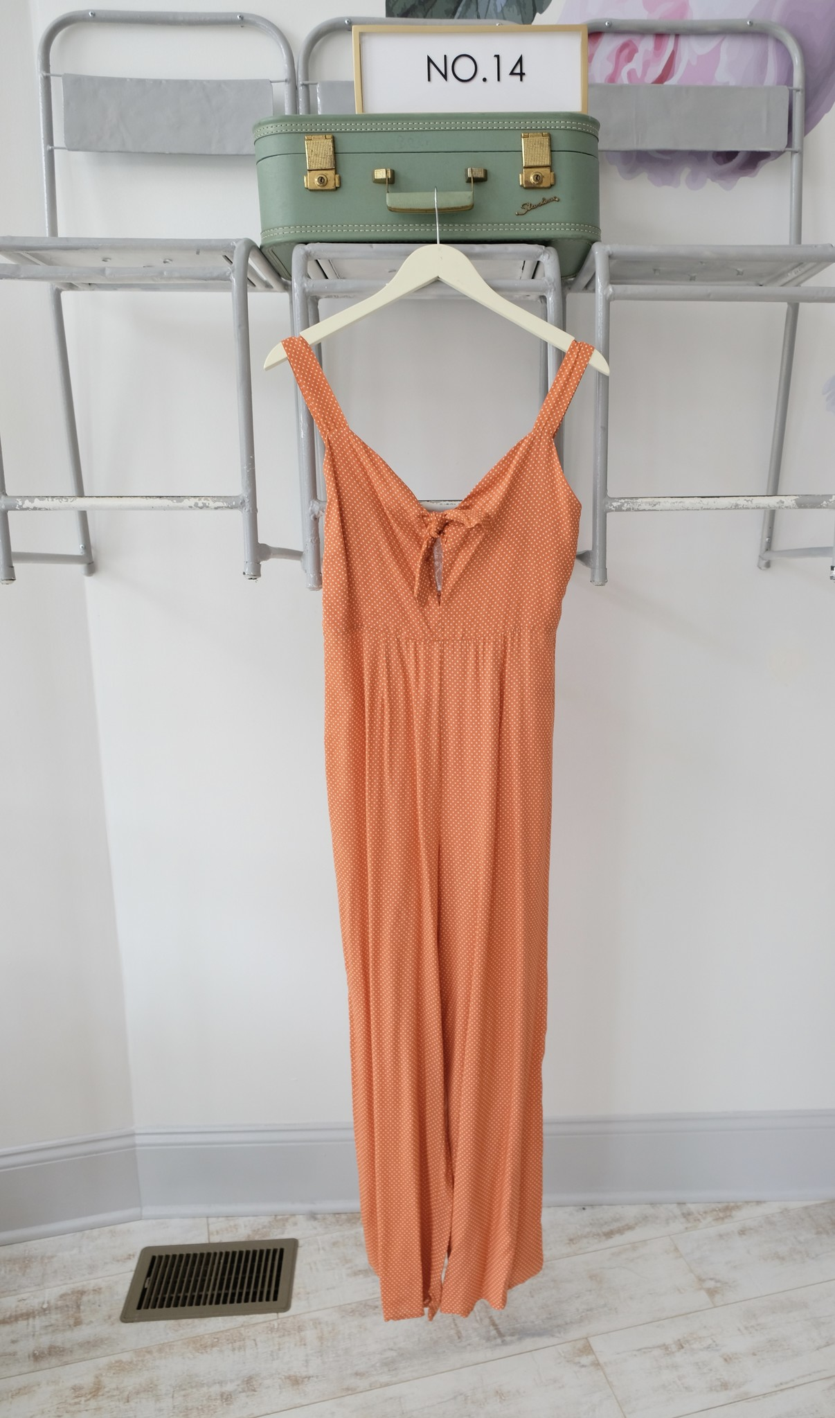Orange Polka Dot Tie Front Jumpsuit