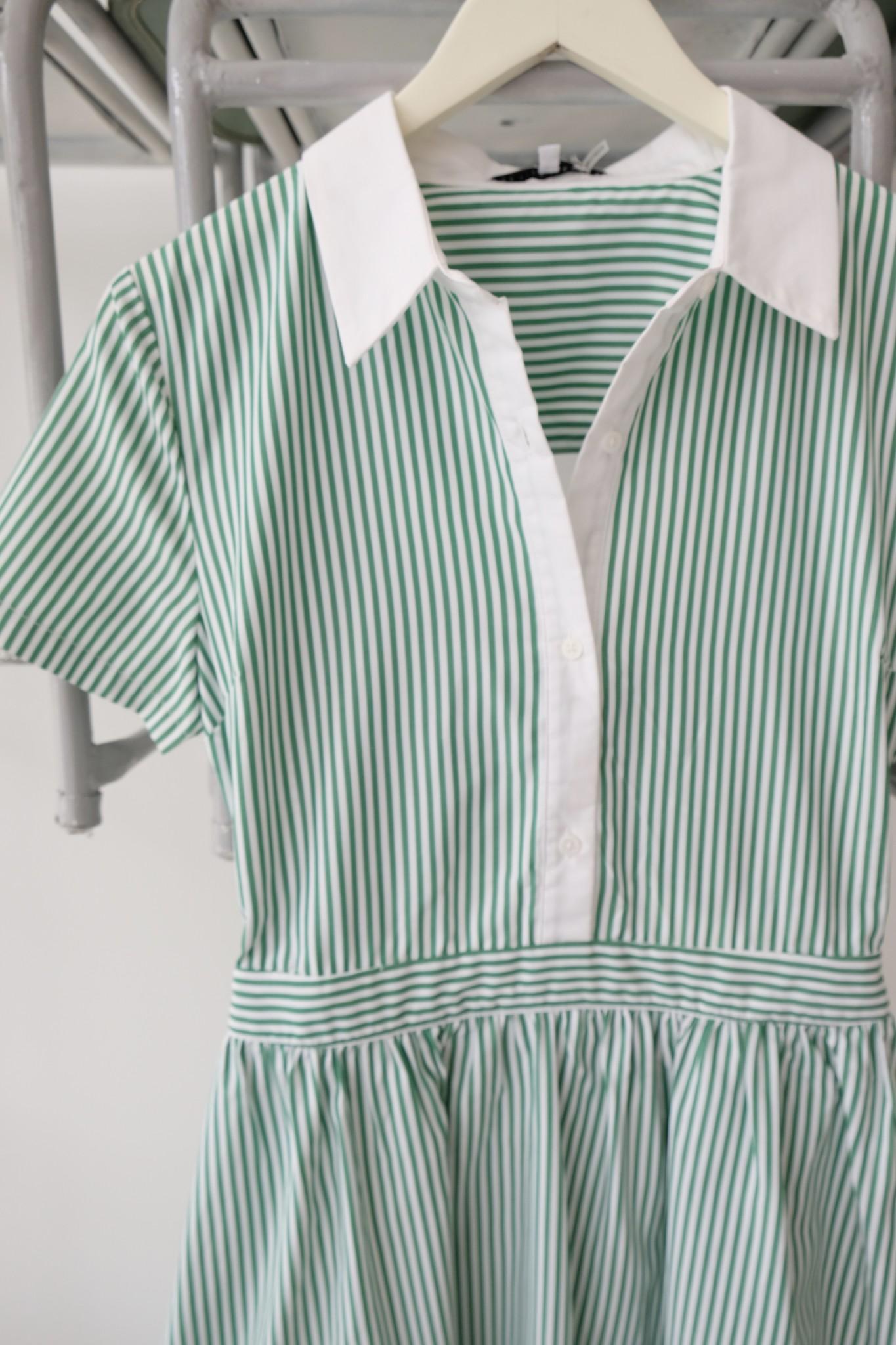 Green & White Tie Back Dress