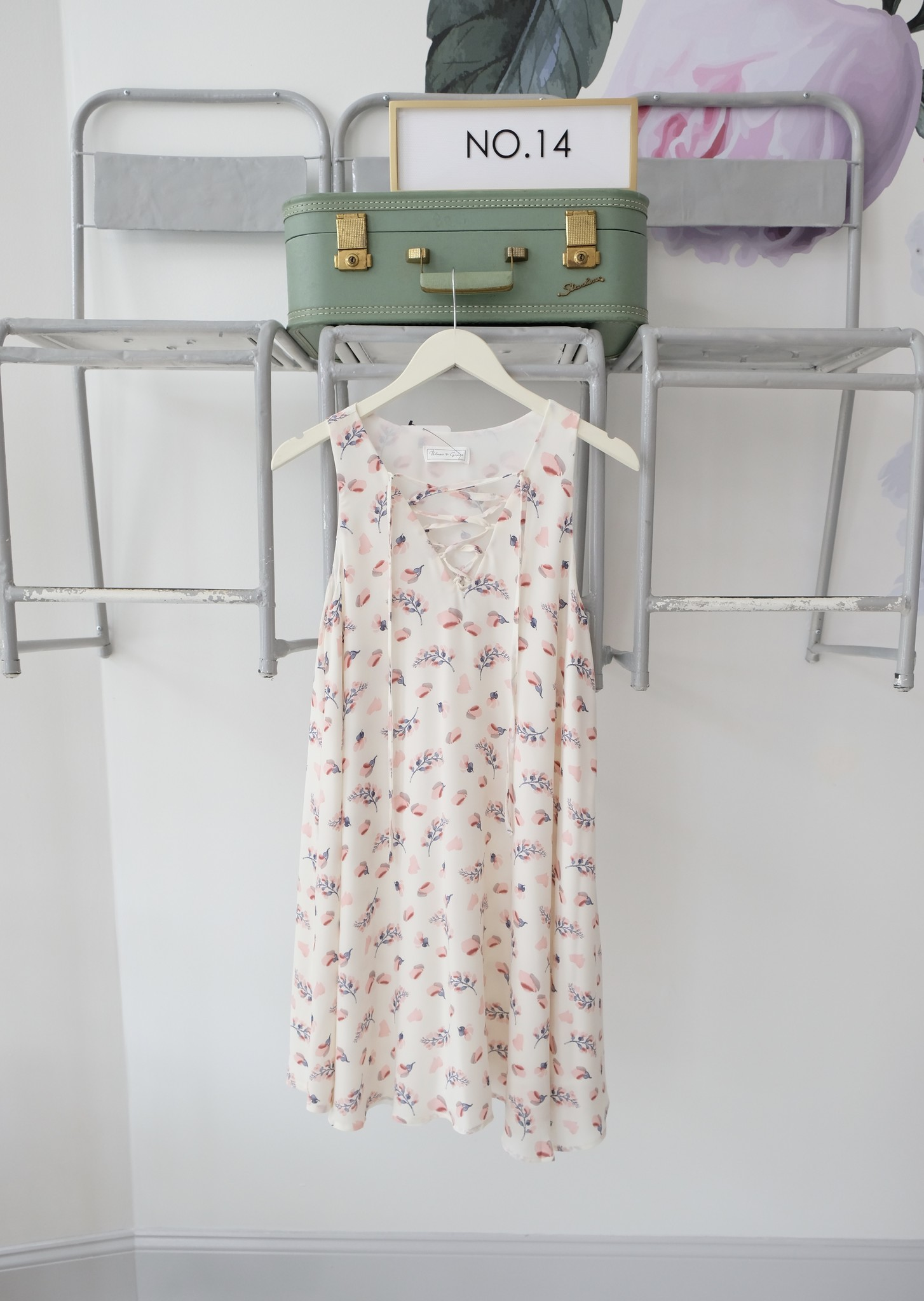 Floral Lace Neck Swing Dress