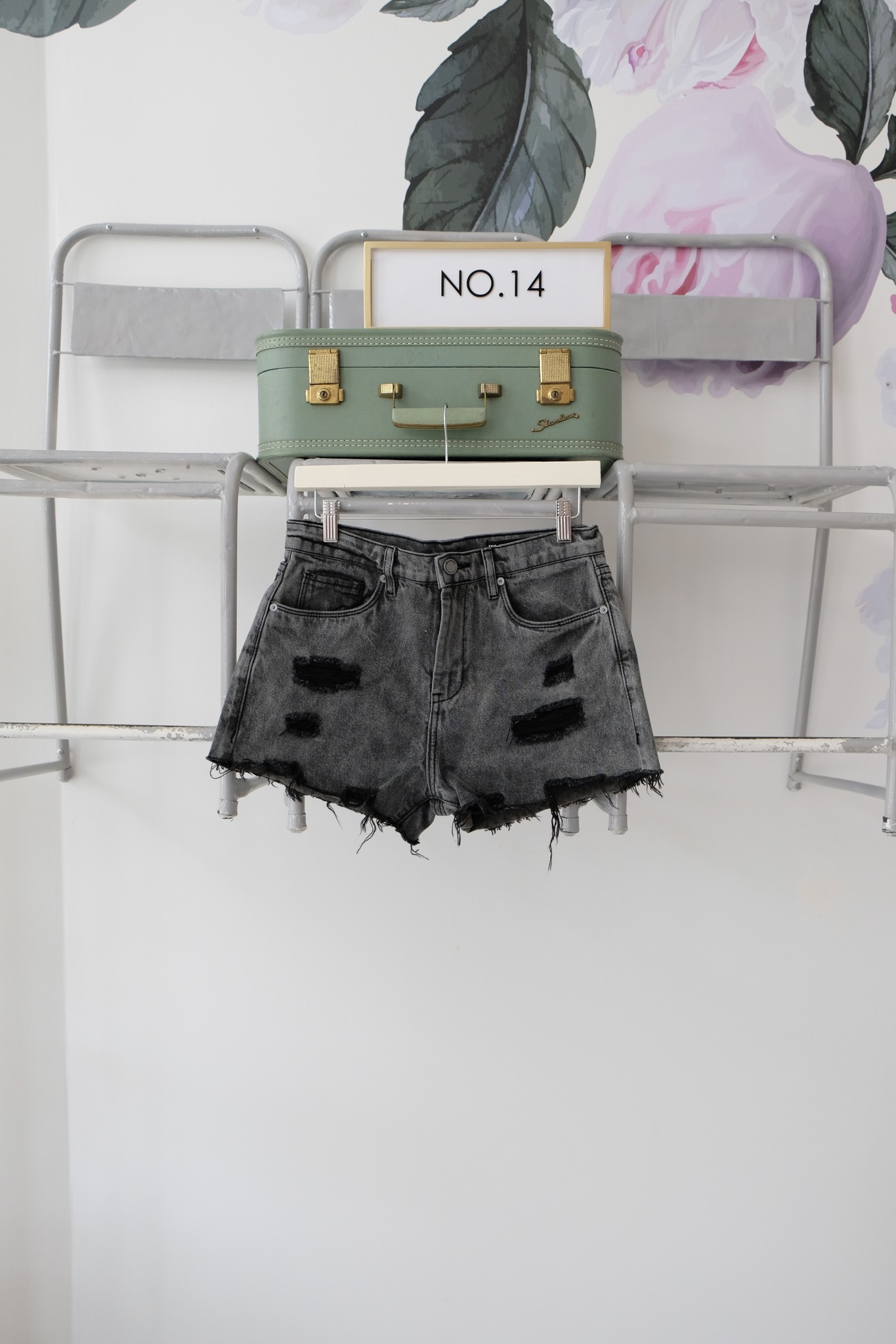Distressed Black Cutoff Shorts
