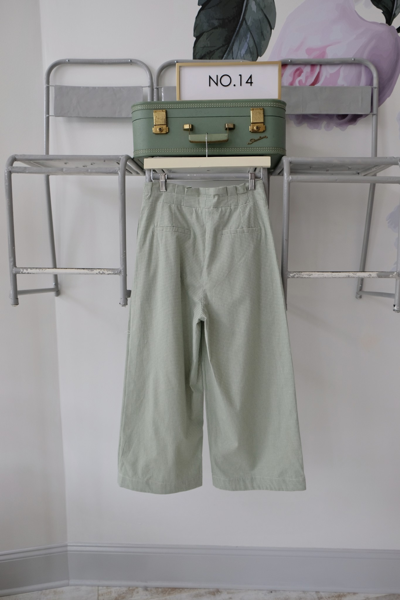 Pleated Gingham Trousers