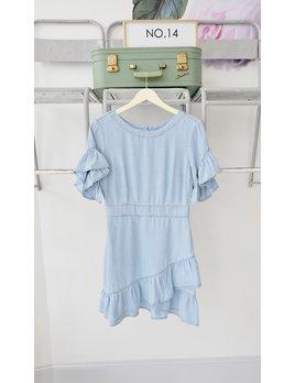 Ruffle Front Chambray Dress