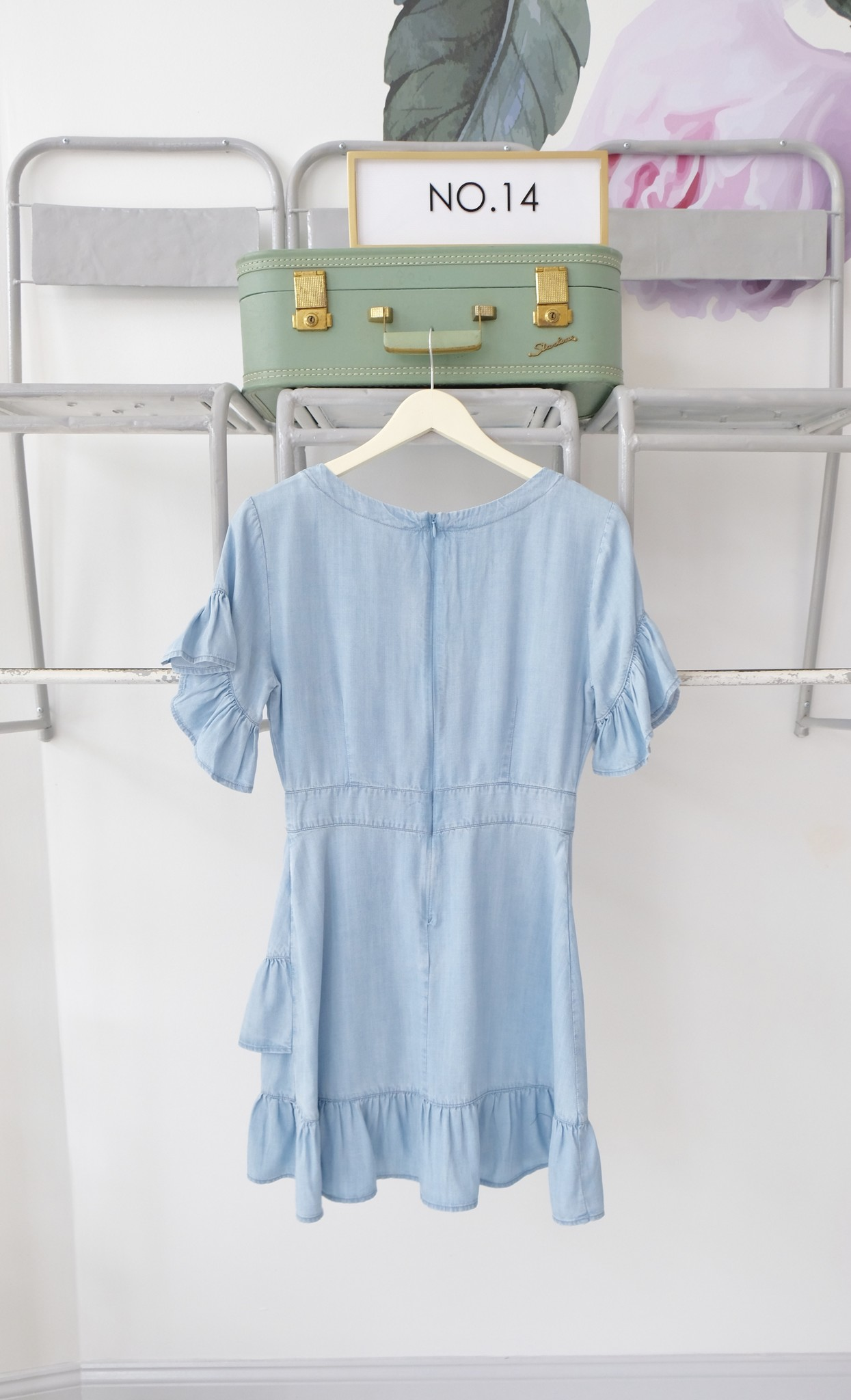 Ruffle Front Chambray Dress