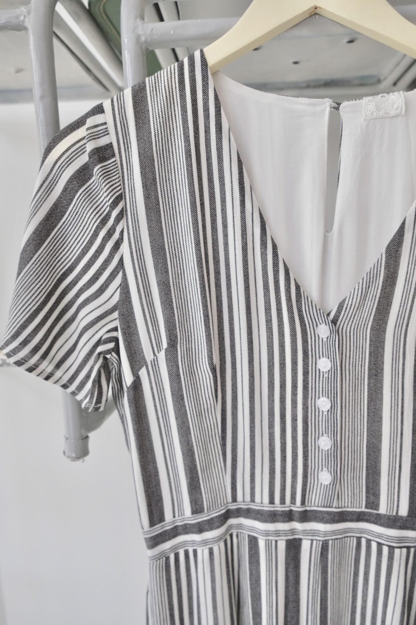 Short Sleeve Striped Jumpsuit