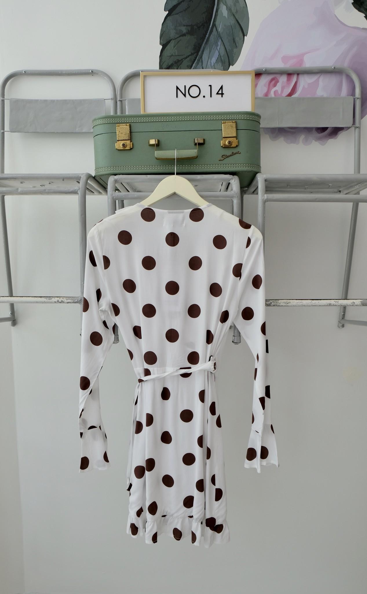 Long Sleeve Polka Dot Wrap Dress