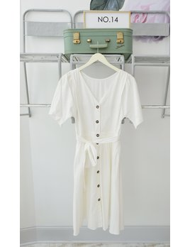 Short Sleeve White Midi Dress w/Buttons