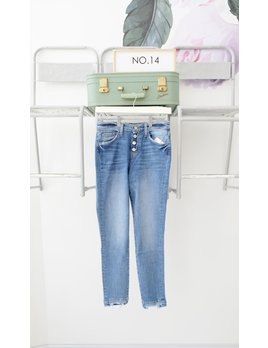 Button Front Hi Rise Jeans w/ Double Hem