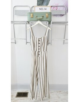 Striped Jumpsuit w/ Buttons