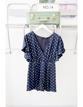 Navy Polka Dot Romper with Flutter Sleeve