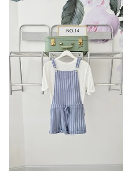 Blue & White Stripe Short Overalls