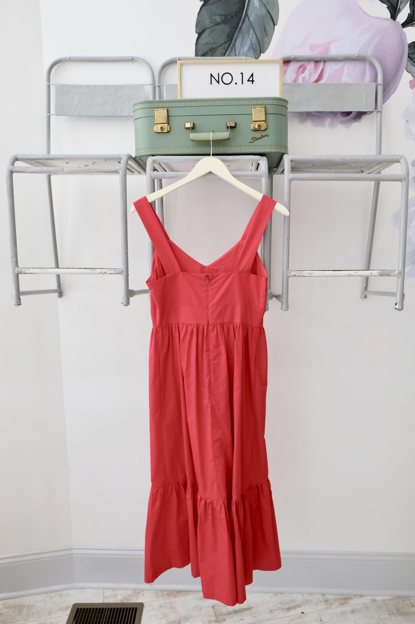 Tiered Red Midi Dress