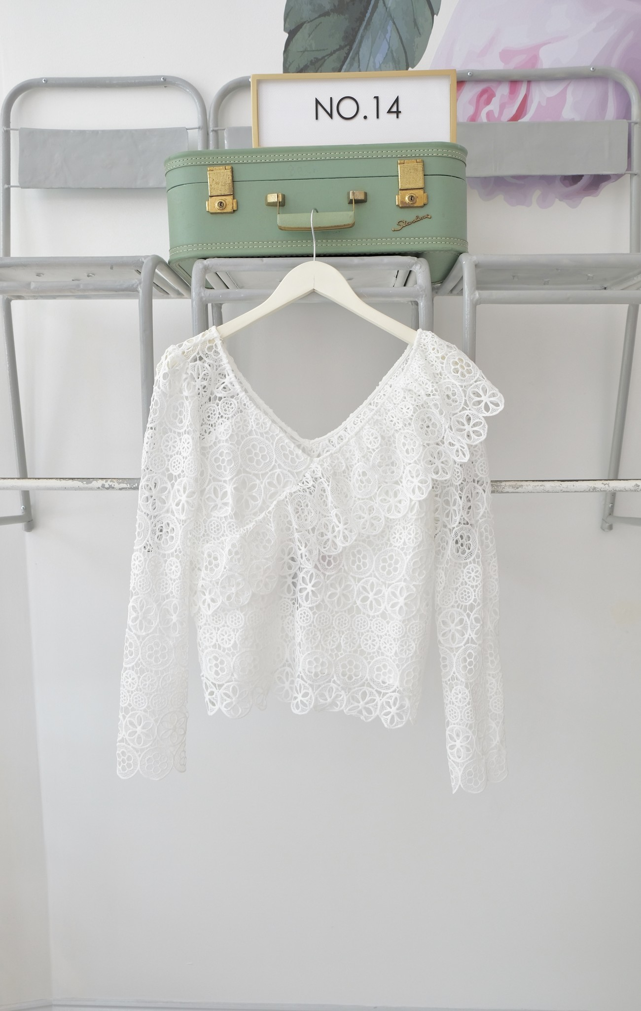 Long Sleeve White Lace Top