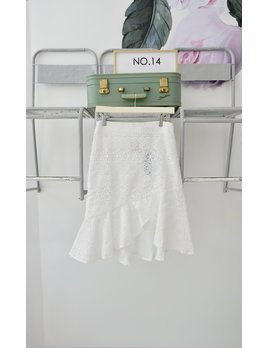 White Lace Skirt w/ Ruffle Hem