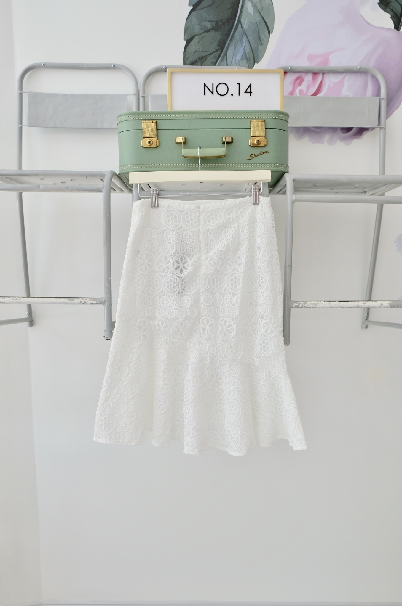 White Lace Skirt w/ Ruffle Hem