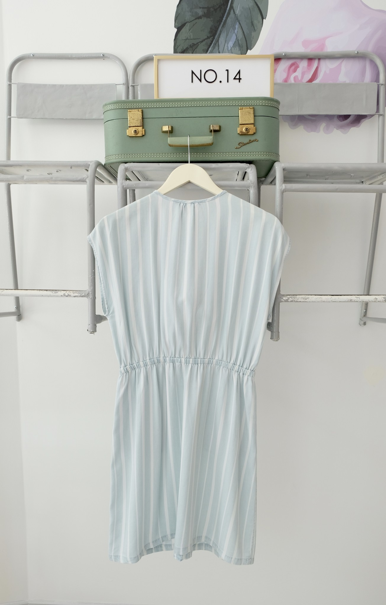 Striped Chambray Tie Dress