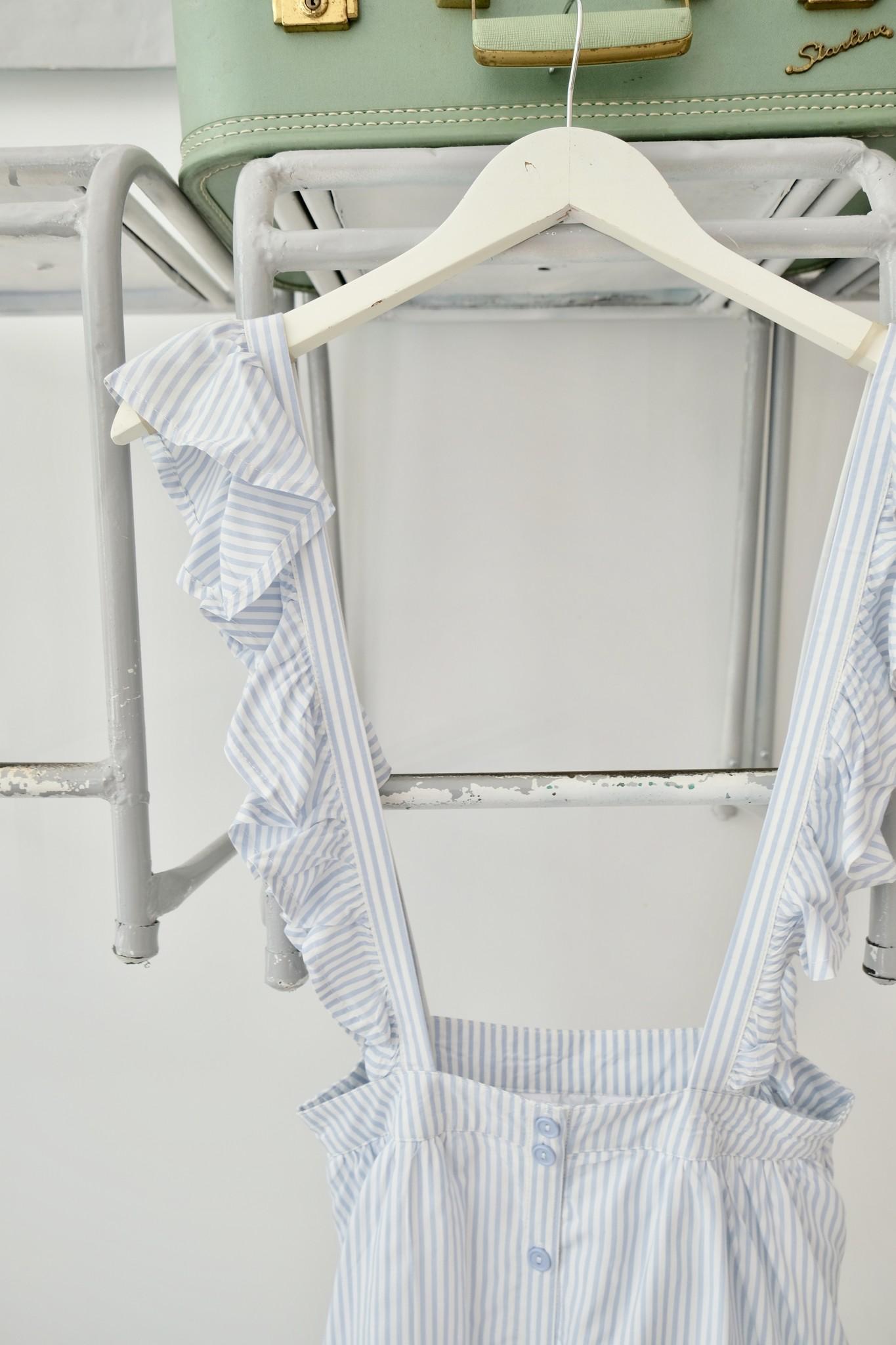 Ruffle Strap Striped Skirtall
