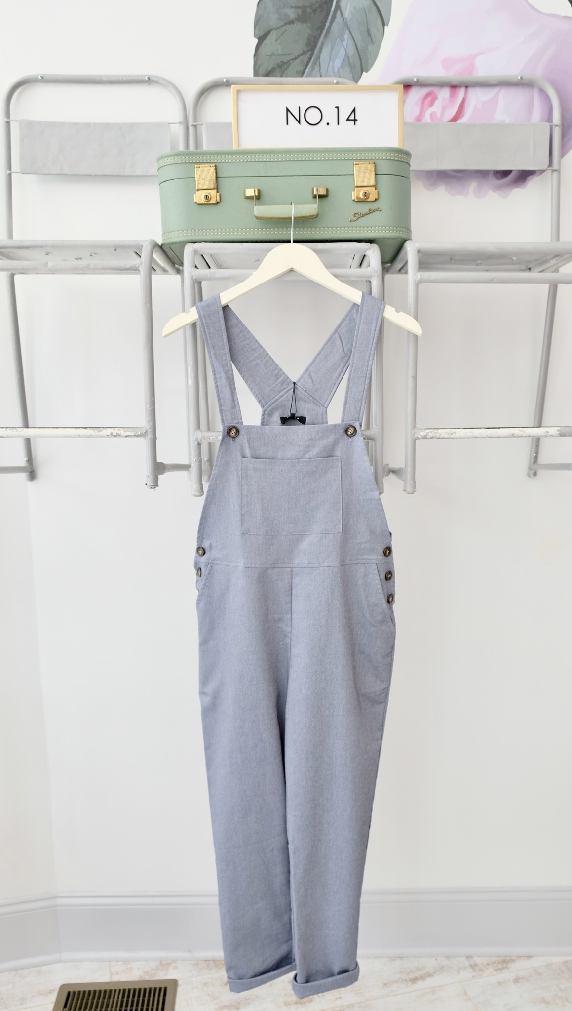 Blue Button Side Overalls