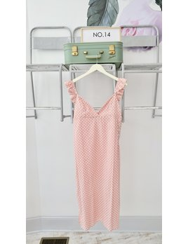 Pink & White Polka Dot Slip Dress