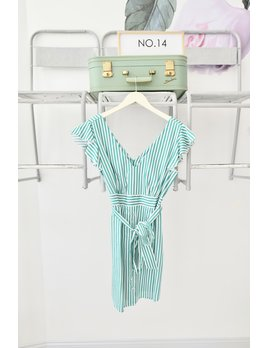 Green & White Striped Tie Dress