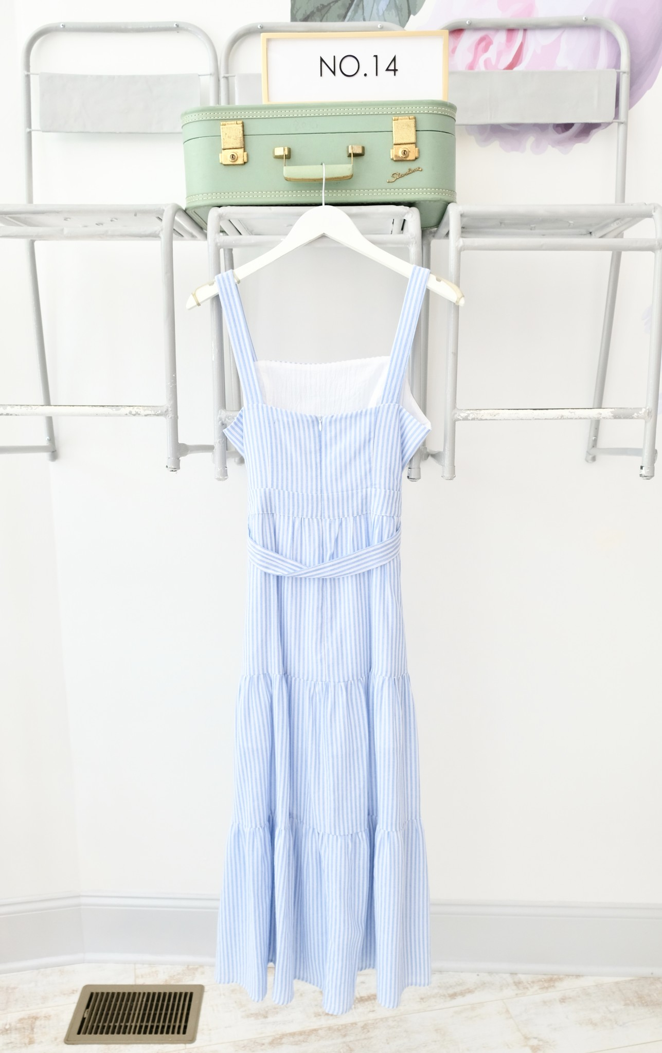 Blue & White Striped Tiered Maxi