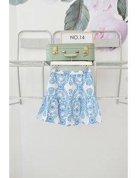 Embroidered Floral Button Front Skirt
