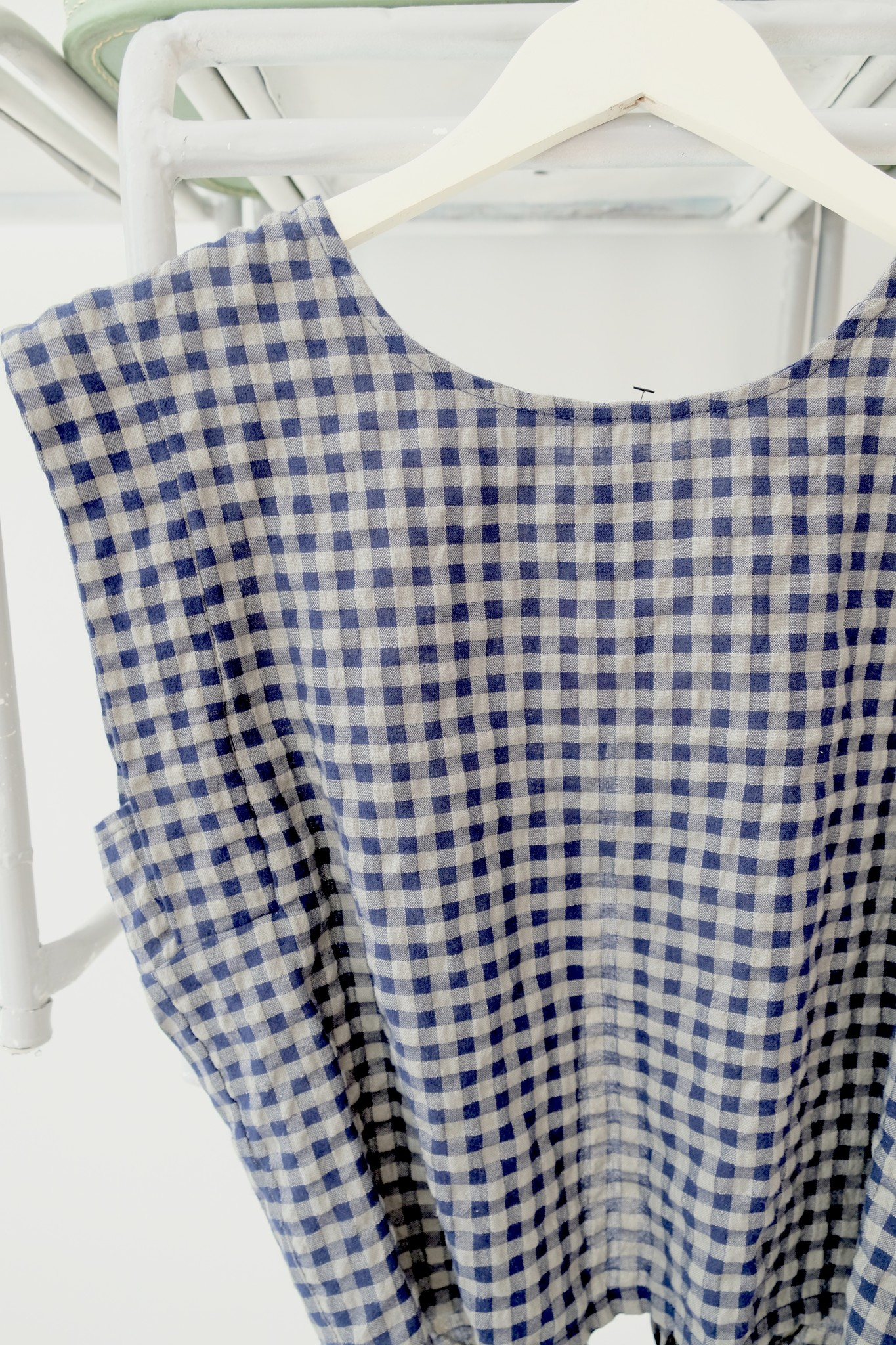 Tie Back Checkered Top