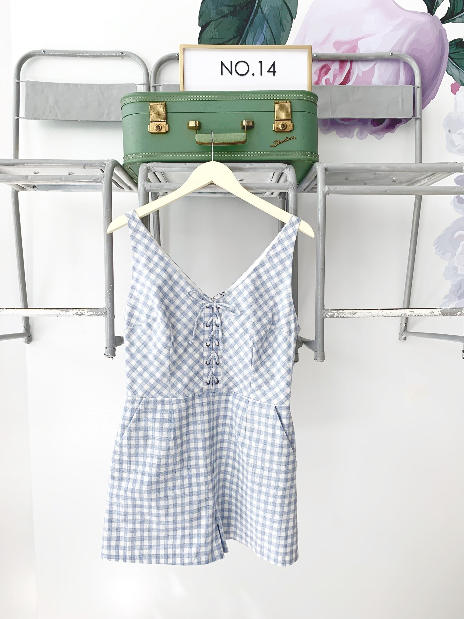 Blue & White Gingham Lace Up Romper