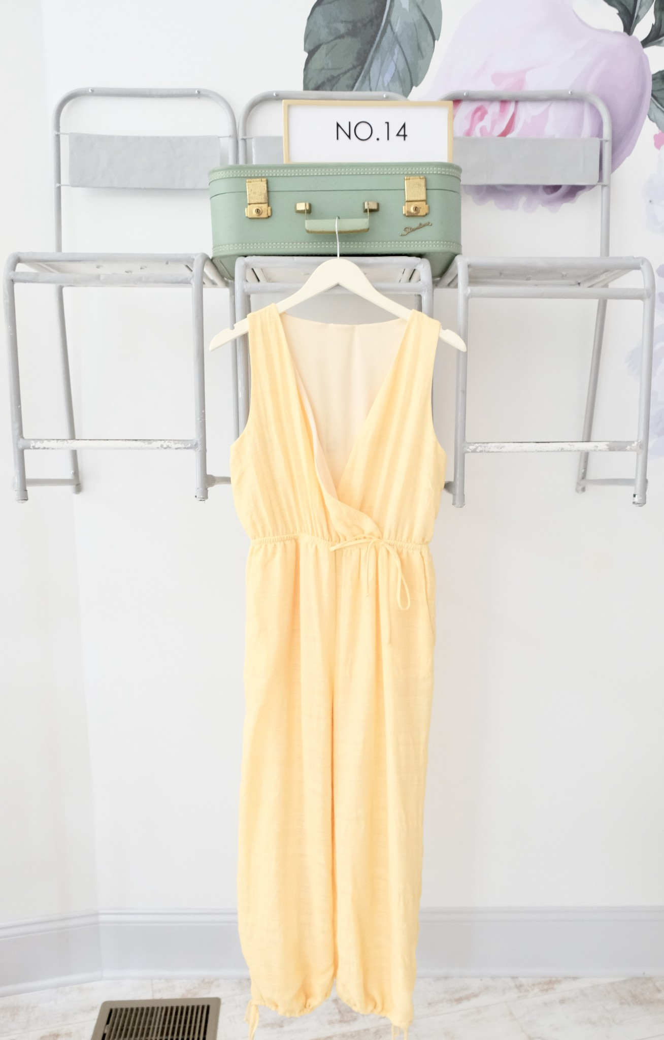 Sage the Label Yellow  Ankle Tie Jumpsuit