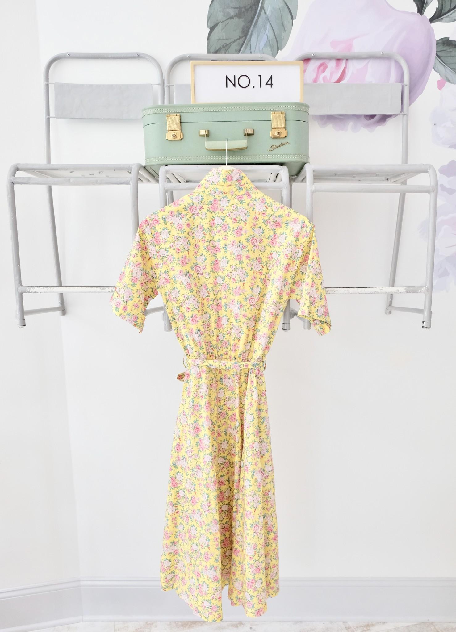 Yellow Floral Collared Midi Dress