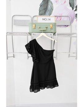 One Shoulder Trim Detail Black Dress