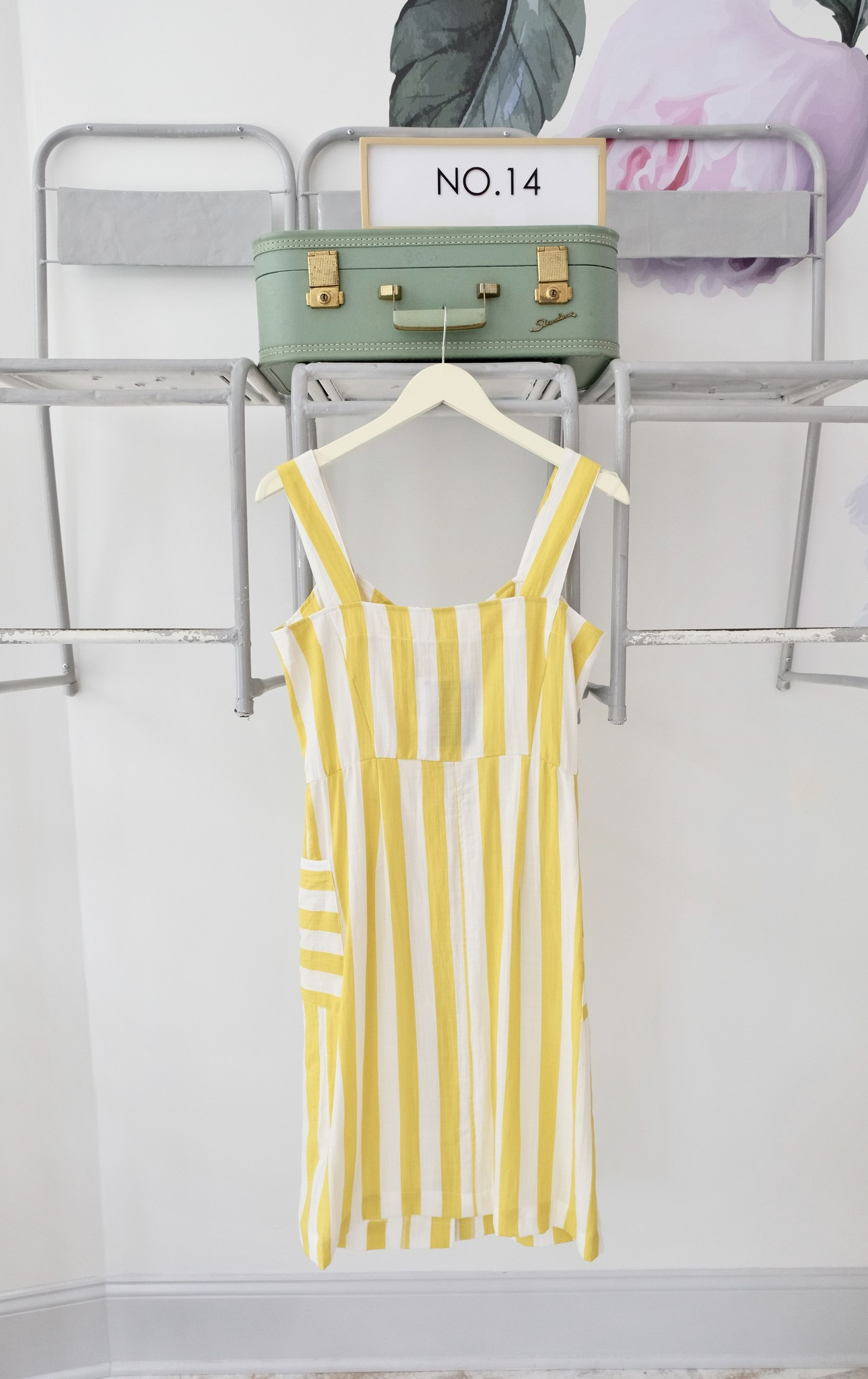 Yellow & White Striped Dress with Pockets