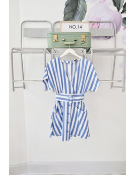 Blue & White Striped Button Down Dress