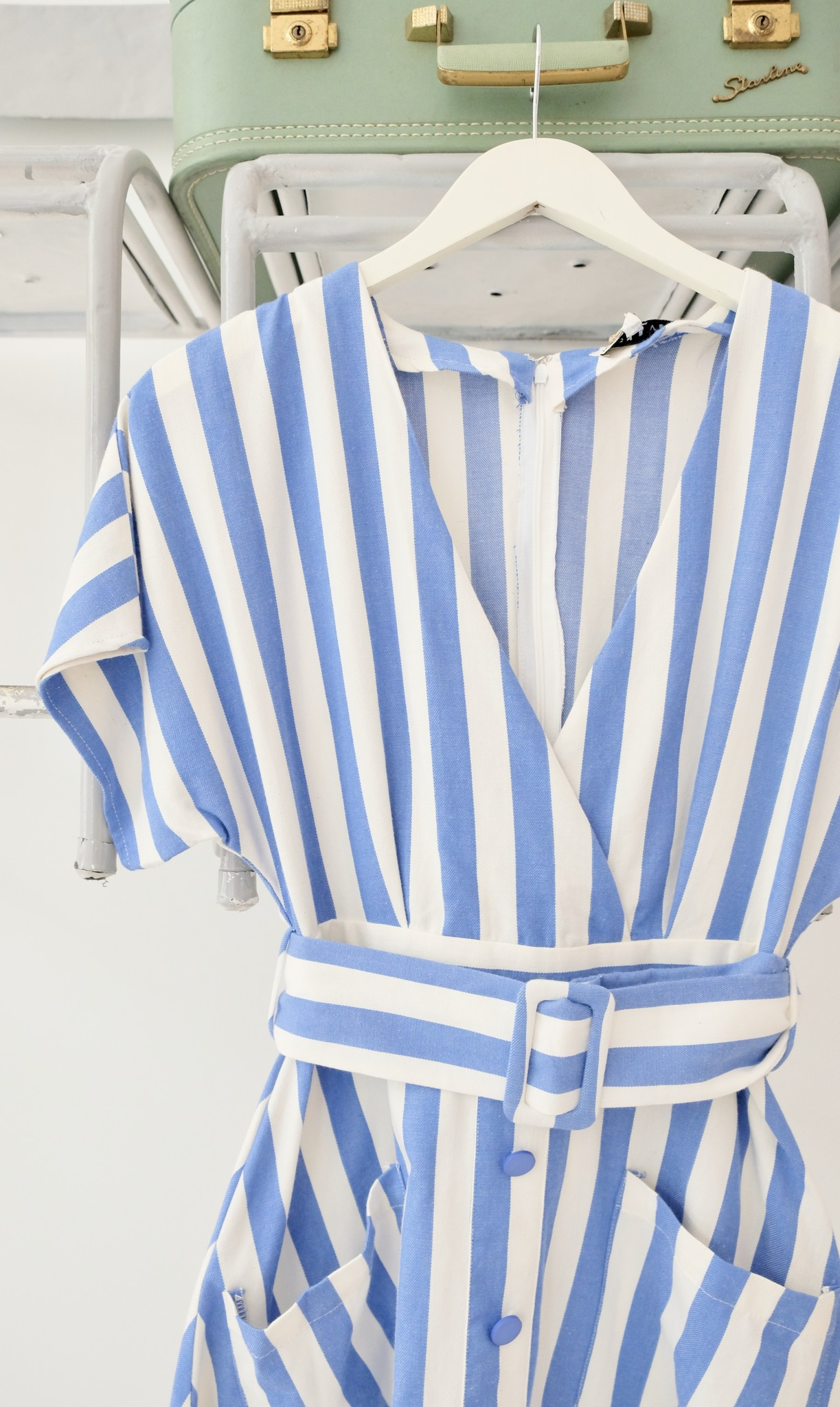 Blue & White Striped Button Down Dress