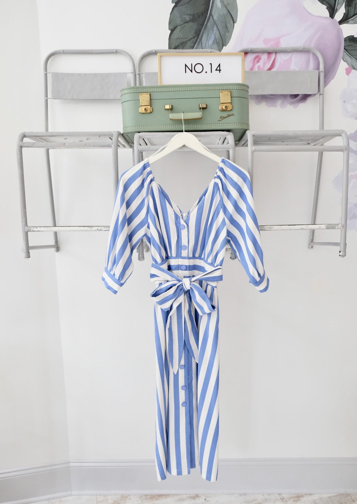 Blue & White Striped Button Down Midi