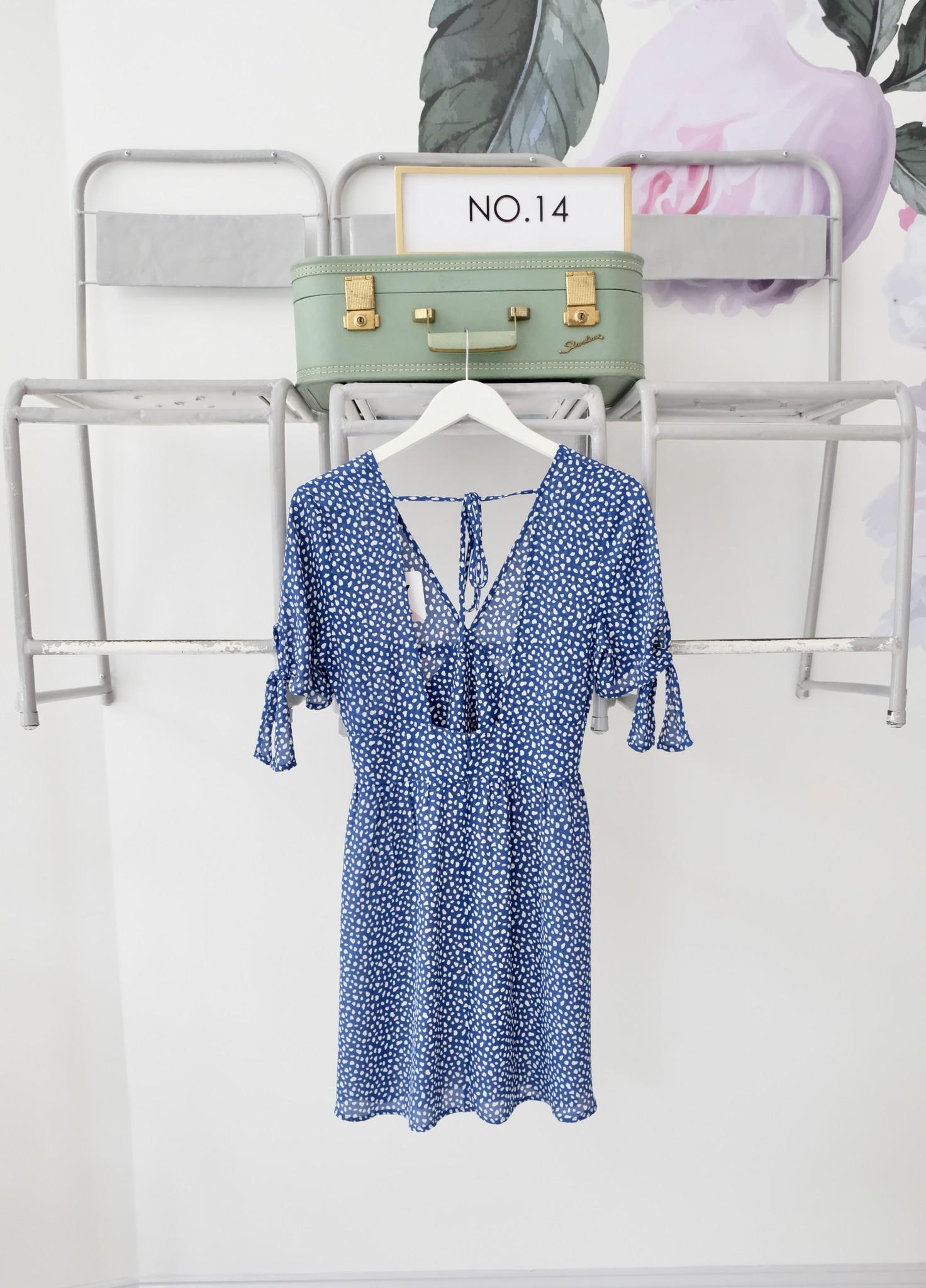 Navy Printed Open Back Dress